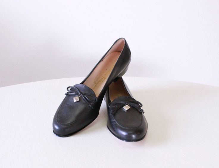Designer Shoes / VINTAGE / Salvatore Ferragamo / Black Leather / 1980s / Italian / Loafers by HighHatCouture on Etsy