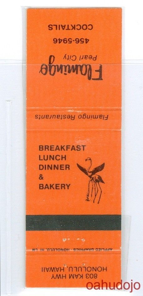 FLAMINGO RESTAURANT PEARL CITY Match Cover*Hawaii*Matchbook