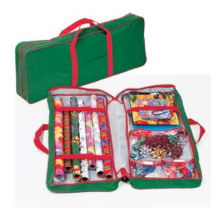 """Product # 63020 - Neatly stores all your wrapping paper, ribbons and other accessories in one place! One side holds rolls in place with hook 'n loop straps. The other side has 4 clear vinyl pockets for storing cards, tags, ribbons, bows and tissue. Comes with an easy-open zipper and webbed carry handles. 36""""L x 14""""H x 5""""W"""