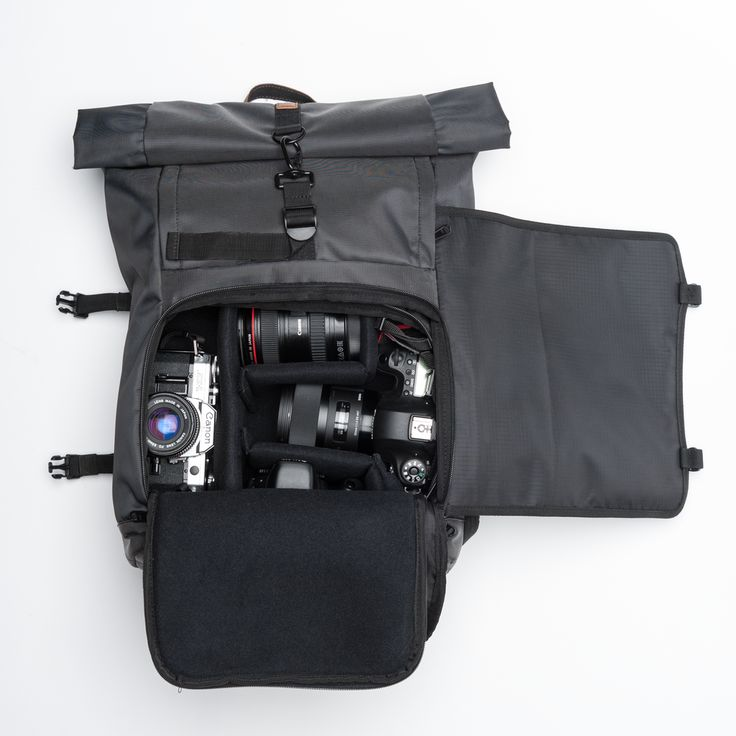 Brevite   The Rolltop camera backpack easy front door gear  access