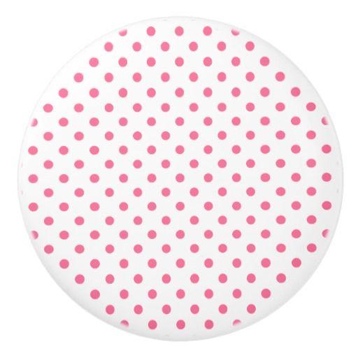 Pink Polkadots Pattern Ceramic Knob