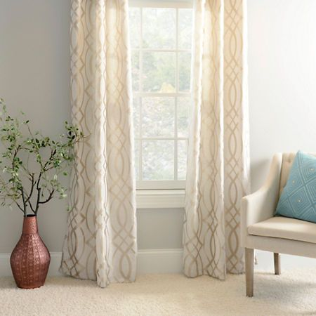 Metallic Avalon Curtain Panel Set, 108 in. | Kirklands  Love the paint color with the gold accent of the curtains and all the other coordinating colors in this pic!!!