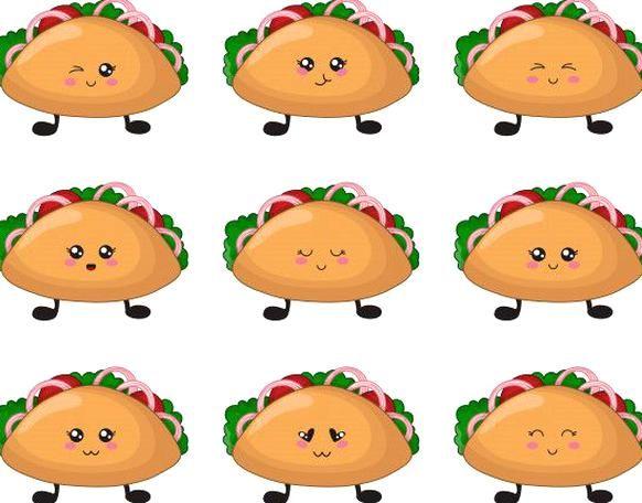 Cartoon Kawaii Fast Food Set Of Tacos Premium Vector Freepik Vector Food Food Cartoon Taco Drawing Happy Taco