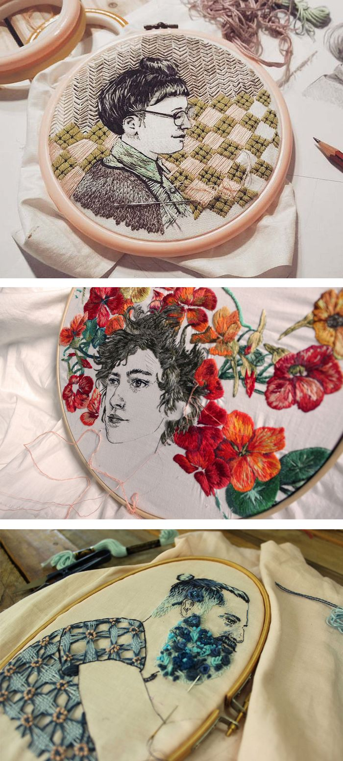 Embroidery by Bugambilo // hoop art // embroidered portraits