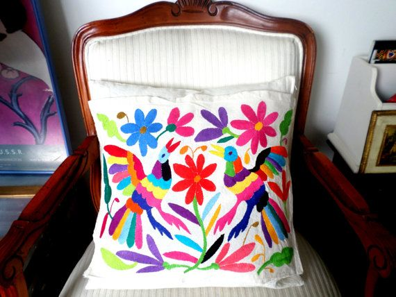 Otomi pillow sham, hand embroidered. ArteOtomi on Etsy, $67.45