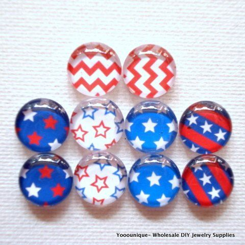 10pcs 5pair 12mm Handmade Mix Photo Glass Cabochons by yooounique