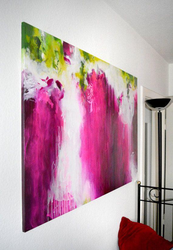 Peinture XL avec Rose et fuchsia sur toile