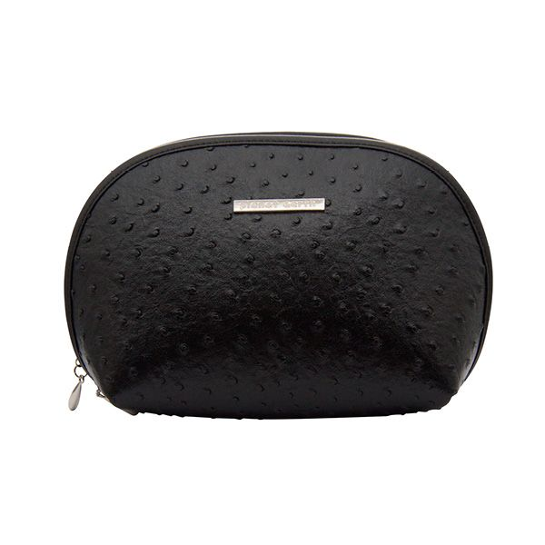 Ourgorgeous faux ostrich leather shell cosmetic case makes a stylish home for all your beauty essentials.