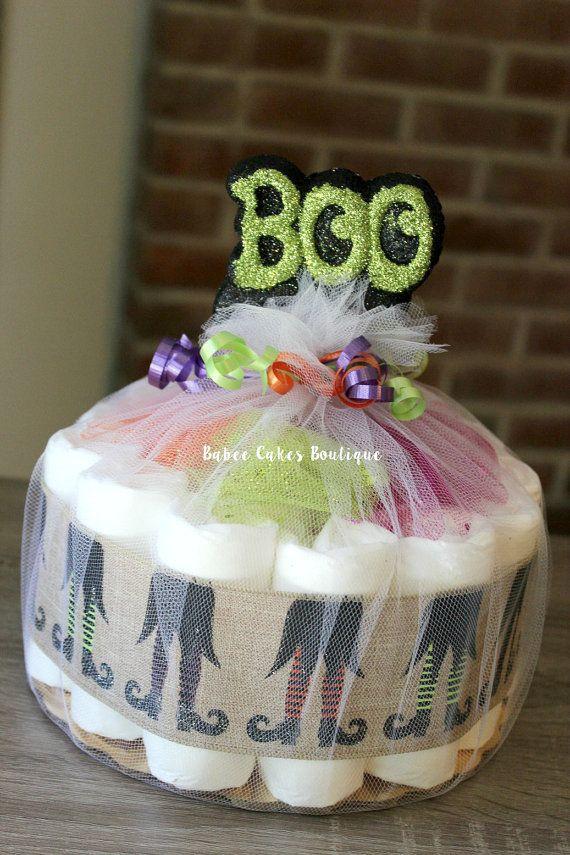 One Tier BOO Halloween Diaper Cake Halloween by BabeeCakesBoutique