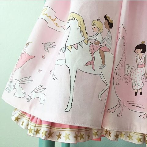 Magic Sarah Jane Michael Miller Fabric MAGICAL PARADE Double Border Unicorn Dragon Print in Blossom Pink with Metallic Gold