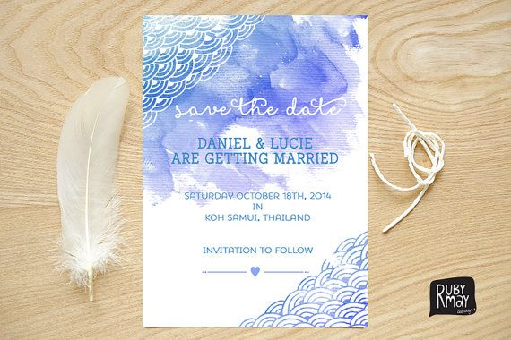 Japanese waves wedding invite, printed sample, nautical save the date, watercolour, coastal, ocean, beach wedding invitation. ombre sea