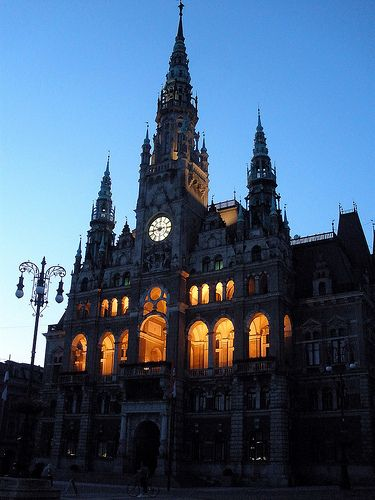 Liberec (CZ) City Hall in the evening
