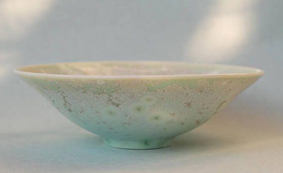 Light green crystalline glazed porcelain bowl unique