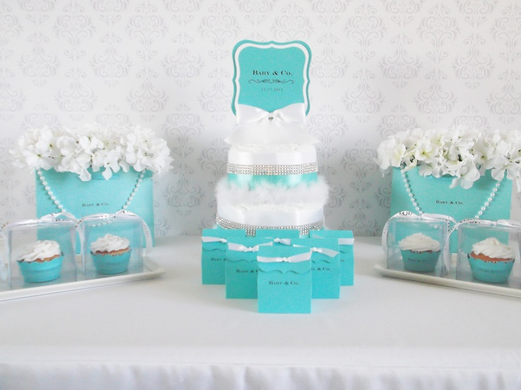 Tiffany Baby Shower Favor Table/ pearls - can use pearl as streamers to edge the table