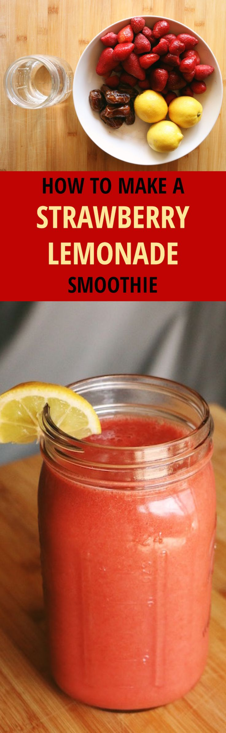 Strawberry lemonade is the ultimate summer drink. Strawberries are a great source of Vitamin C, manganese, folate, and potassium. They are also super rich in antioxidants. Lemons are a great source of Vitamin C as well detoxifying.