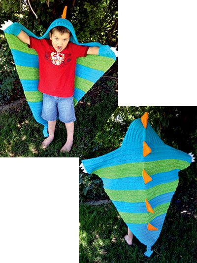 """Any little boy will love Snap the Dragon blanket! It is made using worsted-weight yarn, holding 2 strands together. Size: 50""""W x 52""""L."""