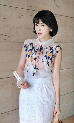 Spring Blossom. Pink Floral Embroidery White Organza Sheer Blouse Top
