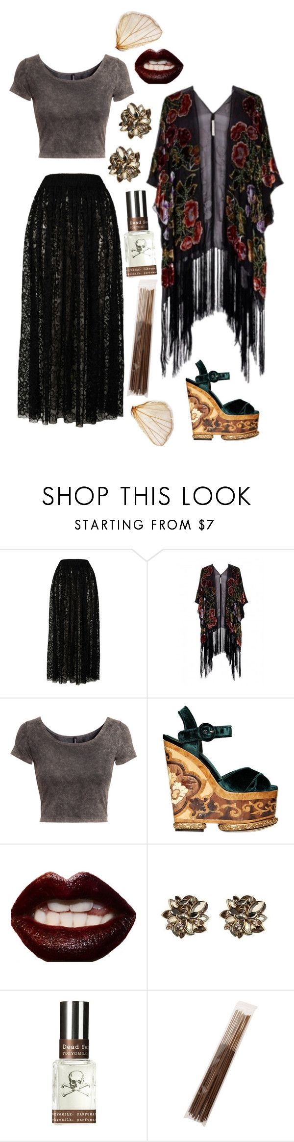 """Bohemian Goth"" by emelynmichal ❤ liked on Polyvore featuring Goldie, Kite and Butterfly, H&M, Dolce&Gabbana, Manic Panic NYC, Alexis Bittar, TokyoMilk and Votivo"