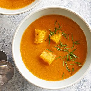 Gluten Free Butternut Squash Soup with Polenta Croutons From Better Homes and Gardens