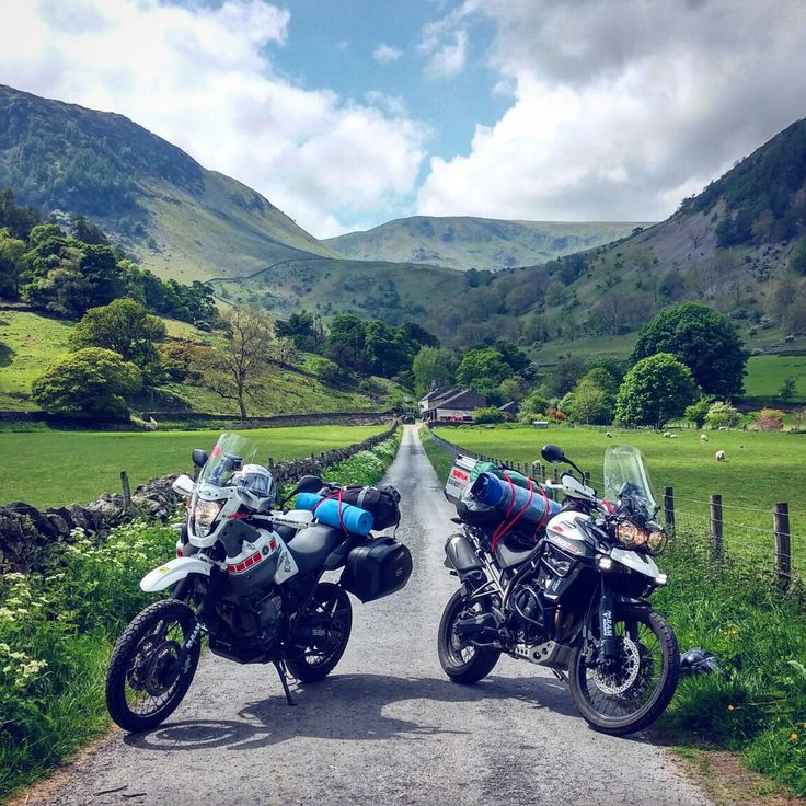 Yamaha XT 660 Z Tenere and Triumph Tiger 800 XCX. Beautiful nature of England. Lake district. UK. Motorcycle Adventure Travel Rider. VISORHEAD.