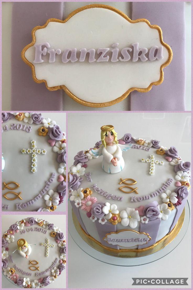 Communion cake#elegant#girl# angel fondant/sugarpaste#flowers fondant #beautiful cake#kommuniontorte Mädchen # Flieder Torte# lovely sugarpaste cake fir girls