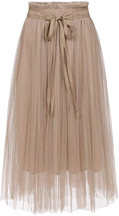 448f74e92 NEARKIN (NKNKWLSK746 Womens Mystical Layered Lace Banding Fairylike Midi  Skirt Beige US M(Tag Size L) at Amazon Women's Clothing store: