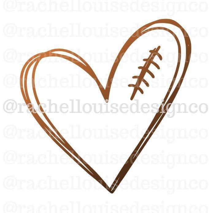 Football Heart Svg Football Heart Dxf Football Heart Png Etsy Football Heart Cricut Svg