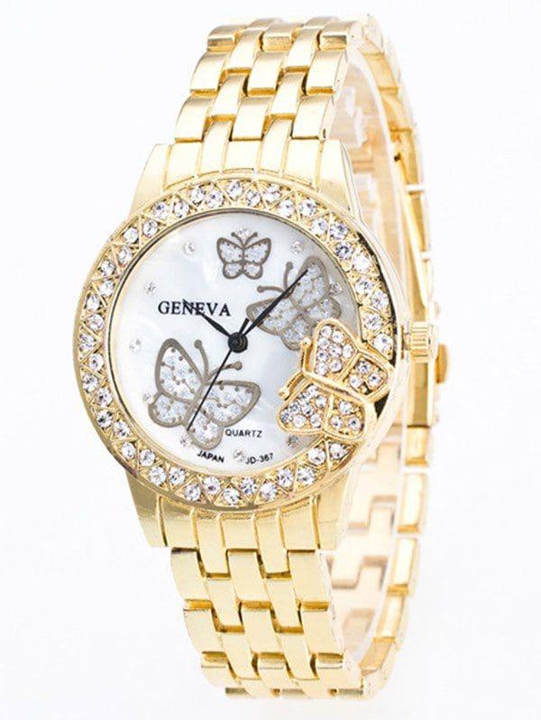 Butterfly Rhinestone Steel Band Quartz Watch - GOLDEN