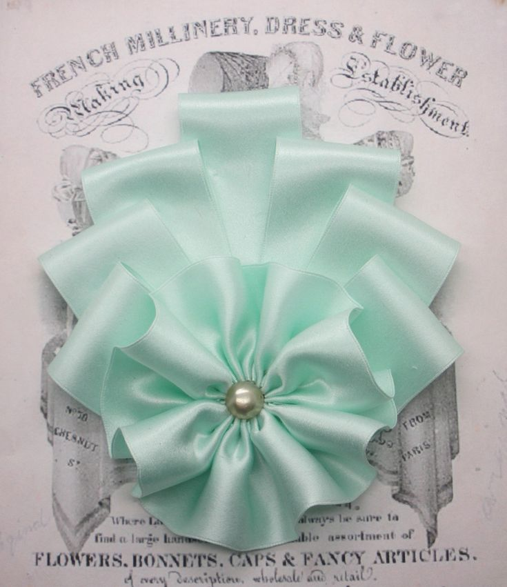 Art Deco Seafoam Silk Millinery Cocarde by ClytemnestrasCloset