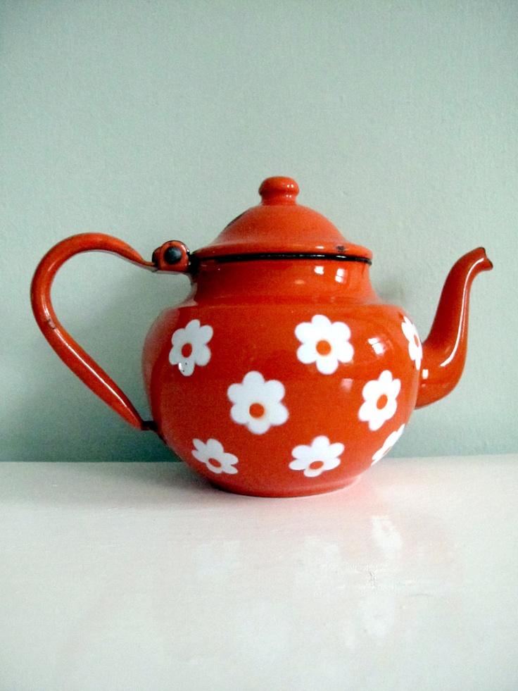 Orange Floral Enamel Teapot by GoodnightPrudence on Etsy. £12.00 GBP, via Etsy.