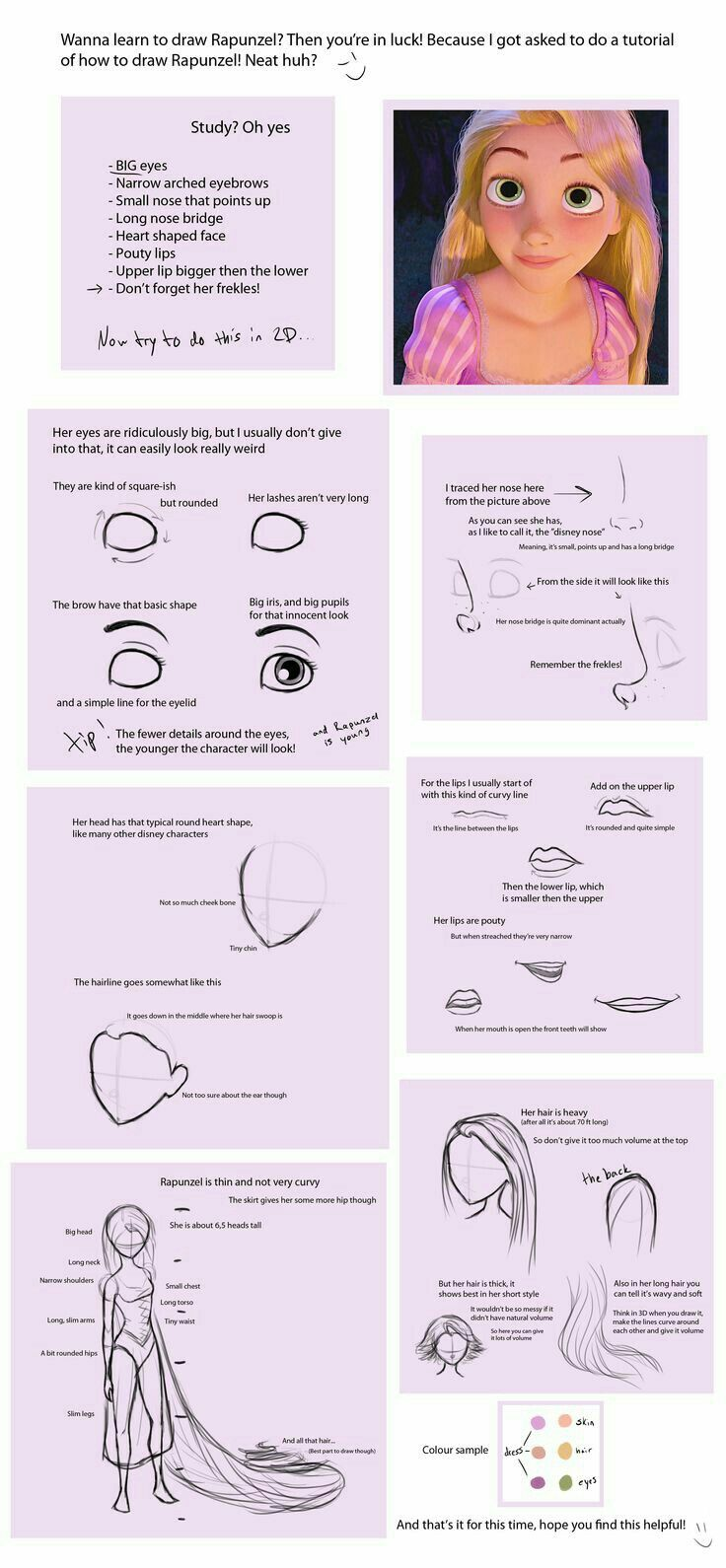 Steps to learn how to draw Rapunzel from Tangled