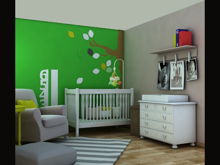 This cool combination fits girlish and boyish room. We have chosen white furniture in stark contrast to the deep green of a wall! The pattern of the tree always gives a nice atmosphere in baby bedroom.