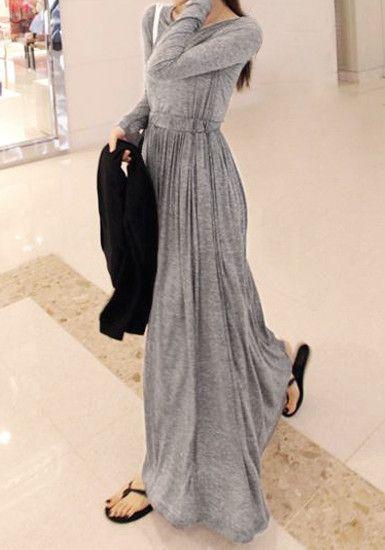 Grey Modal Maxi Dress with flip flops