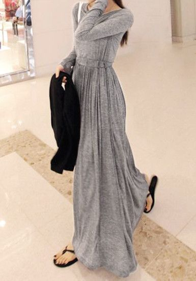 Grey Modal Maxi Dress - Comfy Long Sleeves Dress
