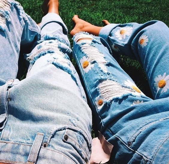 good vibes only. Blue broken jeans. Boyfriend jeans with painted daisies. Coachella style jeans.: