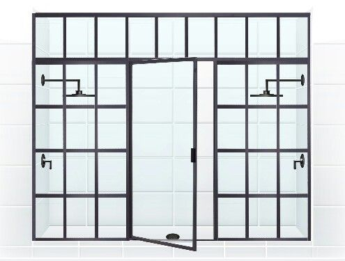 Custom Window Pane Shower.  井 GRIDSCAPE™ [Patent Pending] by Coastal Shower Doors