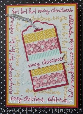 #ChristmasCard using the #GoodGreeting stamp set and #WashiTape.  Dot Dot Stamping Designs   Chris Parker-Barnes – Independent Stampin' Up!® Demonstrator – Cooma, New South Wales, Australia