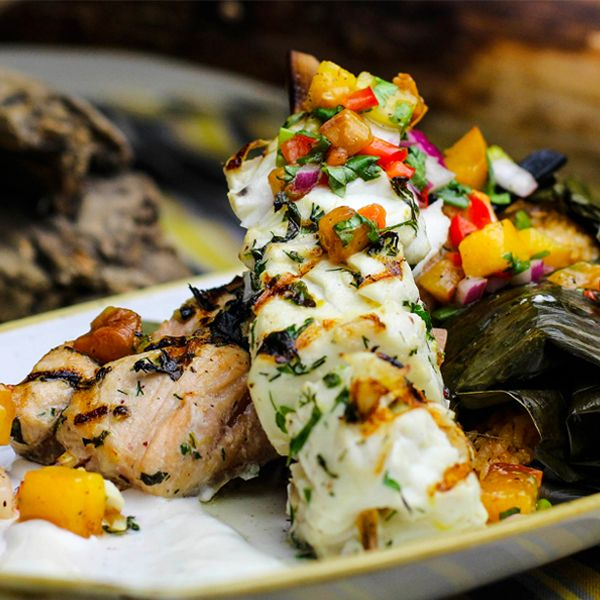 King Salmon and Halibut Brochette with Mango Salsa