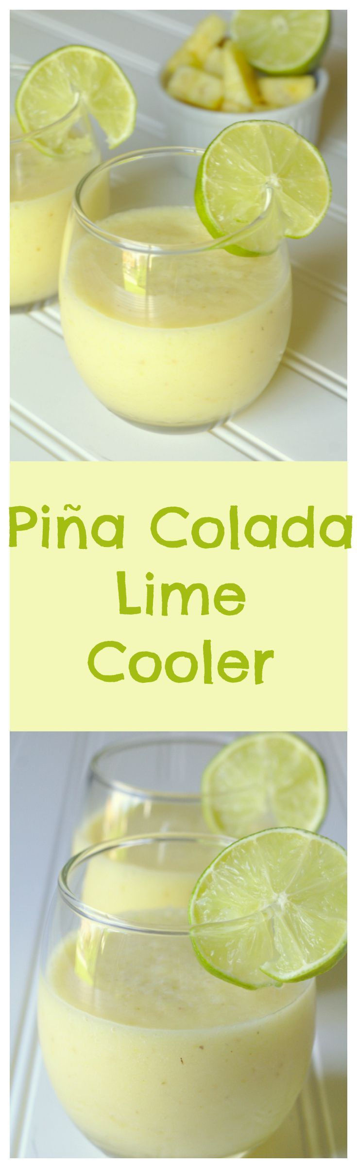 Piña Colada Lime Cooler – A delicious and refreshing summer drink filled with fresh pineapple, lime juice, coconut, and ice! #rum