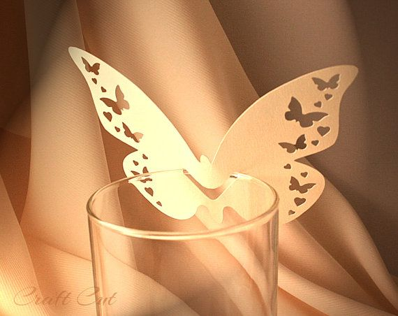 Butterfly Place Cards (20+) Wedding Wine Glass Decoration Christening Baptism Confirmation First Holy Communion
