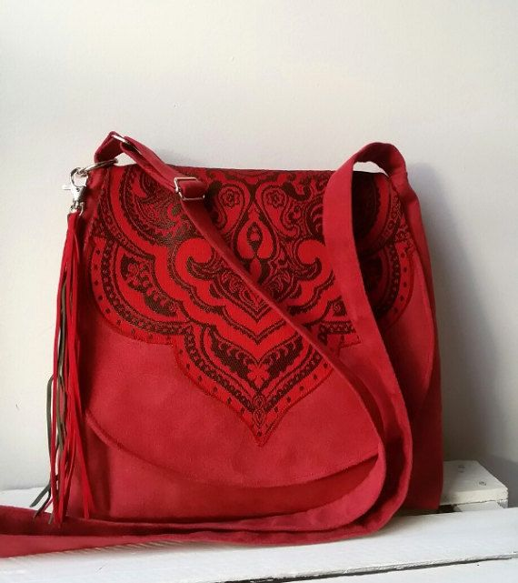 Red bohemian crossbody bag Oriental bag Evening oriental