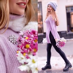 Alina Nue - Asos Fluffy Sweater, Mango Boots, H&M Skinny Jeans - Lilac Sweater