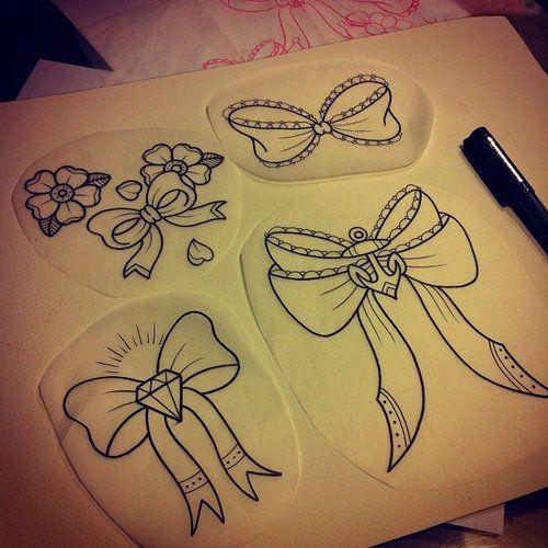 croquis tatouages noeud girly avec diamants ancres coeur. Black Bedroom Furniture Sets. Home Design Ideas