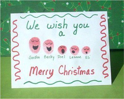Fingerprint Christmas card- use the fingerprints of each family member
