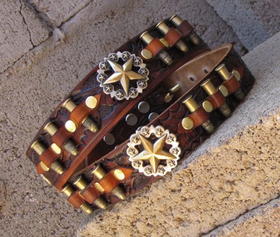 Leather Dog Collar Bullet Dog CollarWestern by OutlawLeatherUSA