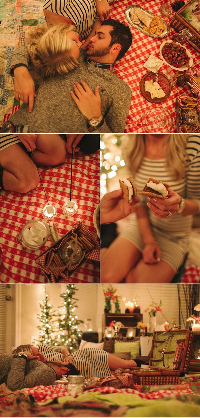 Cozy and Romantic Indoor Picnic - love the smores by candlelight!