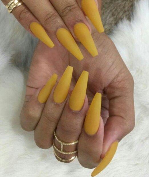 yellow matte nails - photo #17