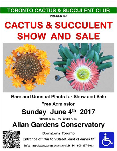 Cactus and Succulent Show and Sale @ Allan Gardens (Toronto) Today 10:30am-4:30pm!