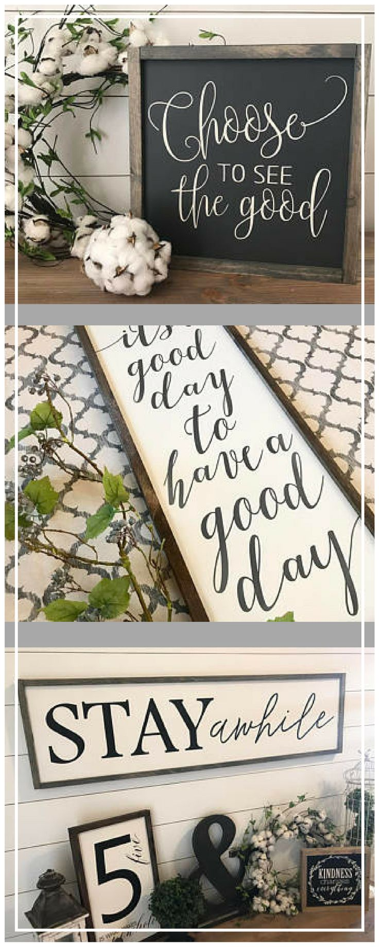 I love the positive messages of these farmhouse signs - great decor! Its a good day to have a good day 14x36 MORE COLORS / hand painted / wood sign / farmhouse style / rustic ad #afflink #farmhouse #decor #signs #decorating