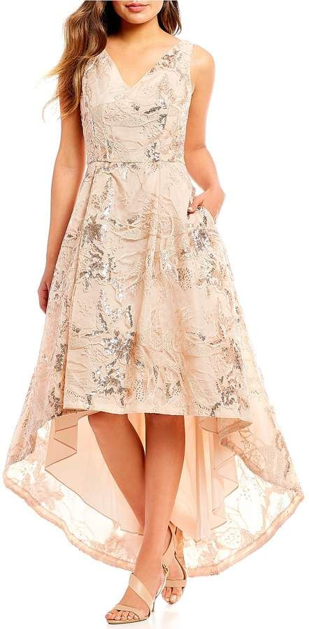 09f3125c64 Embroidered Floral Hi-Low Gown  Fit fabrication floral